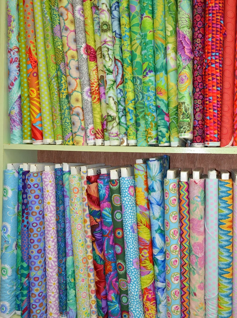 kaffe fassett fabric in a quilt shop