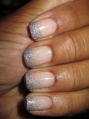 Glitter tips, Love & Beauty, baby pink, silver glitter, nail art, nail design, mani
