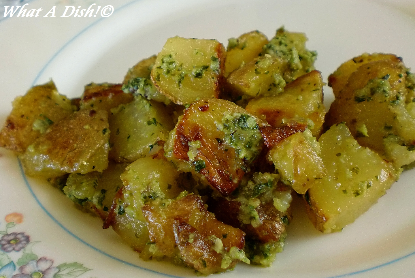 What A Dish!: Roasted Potatoes with Pesto