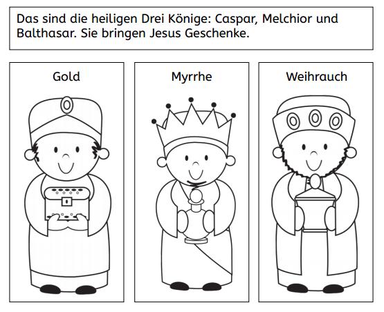 Eine kleine Deutschkiste: Eine Weihnachtsgeschichte zum Ausmalen