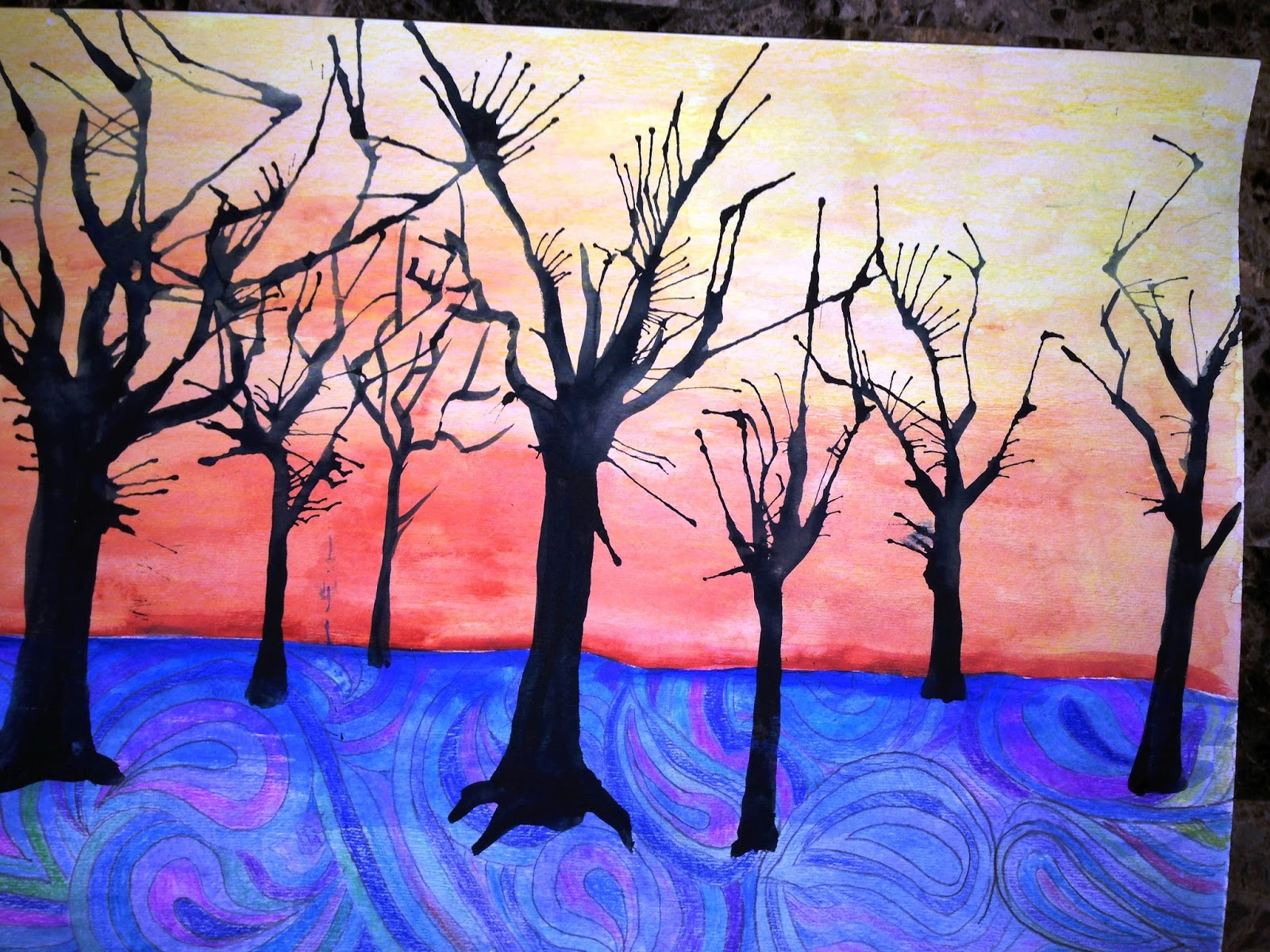 Tree Without Leaves Painting Of trees without leaves.