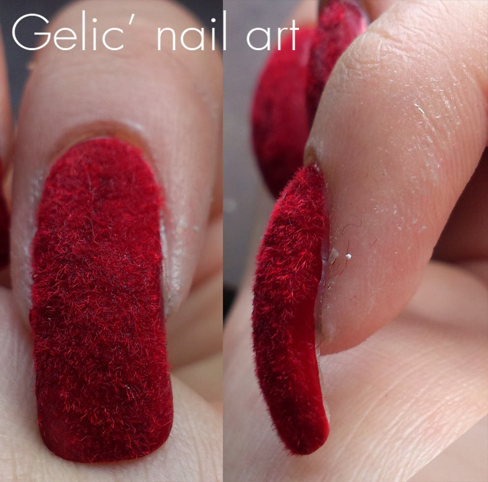 Gelic Nail Art Red Velvet Nails Nails With Red Flocking Powder