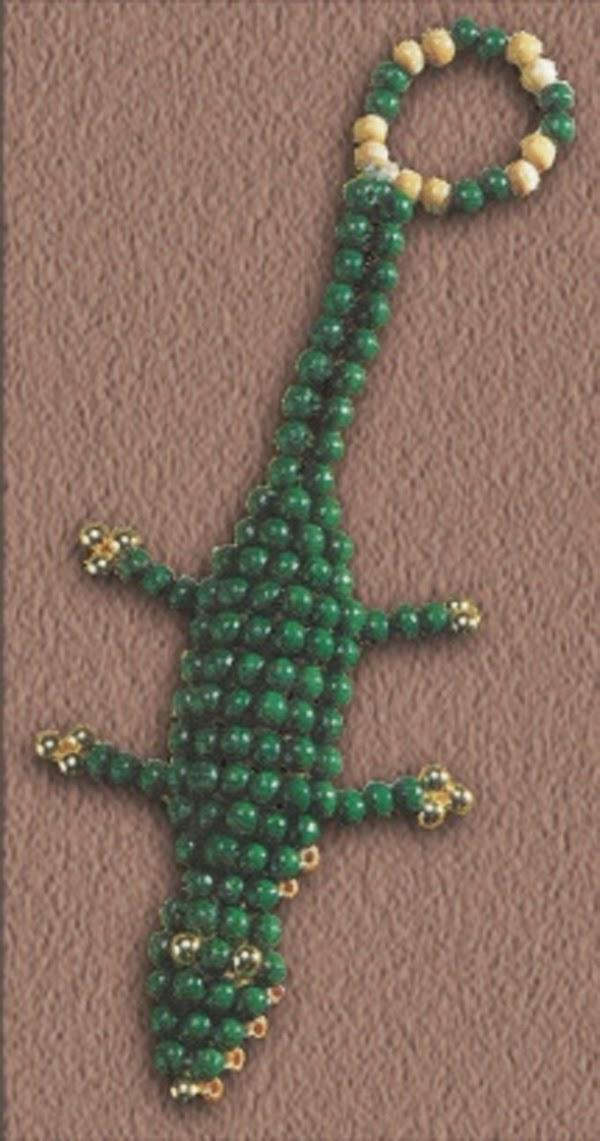 крокодил из бисера для начинающих