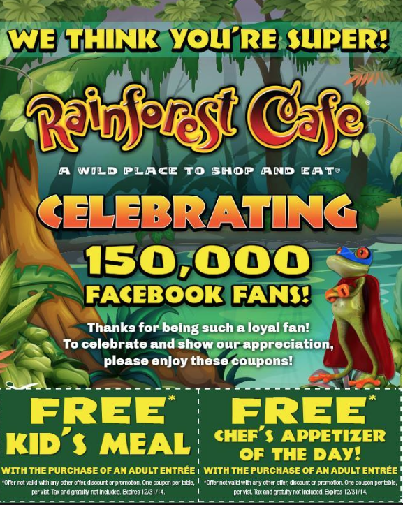 Arizona families rainforest cafe free kids meal coupon or free chef 39 s appetizer