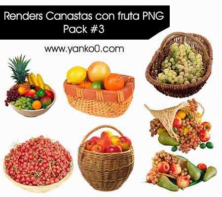 Renders, PNG, Canastas con Fruta