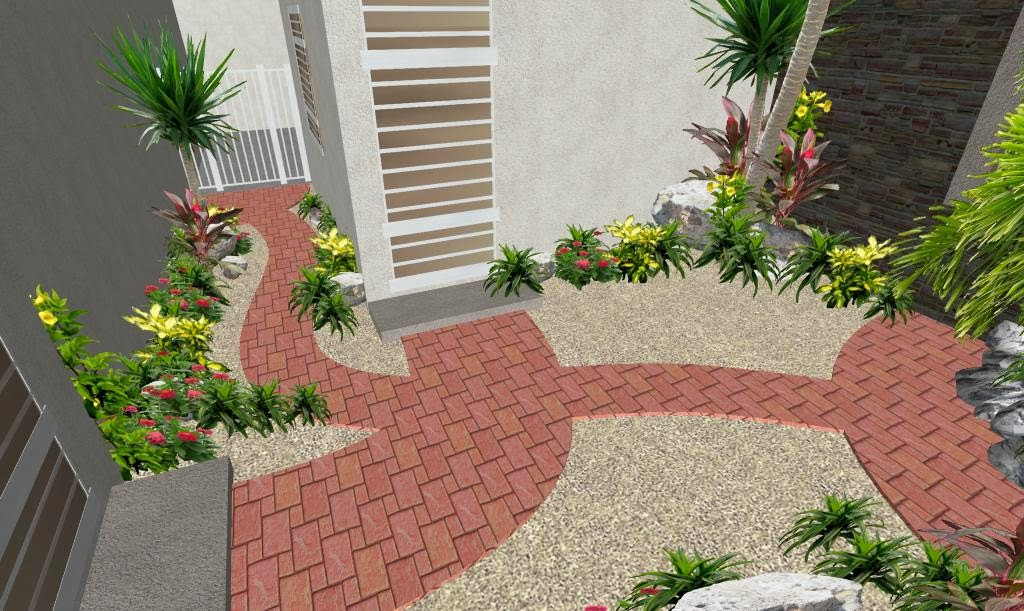 Patio con sendero creativo de adoqu n el ave f nix for Decoracion de patios pequenos con piedras