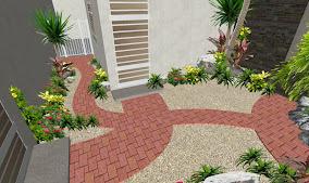 jardin pequeño playa del carmen diseño patio sendero adoquin rojo