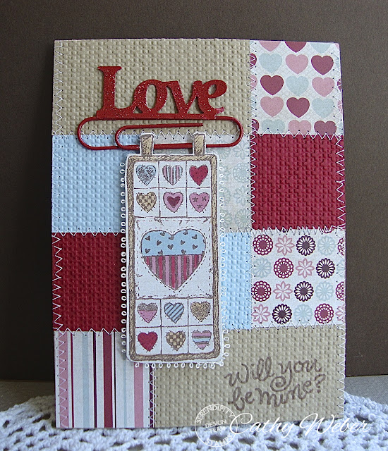 Serendipity Stamps Heart Quilt Will You Be mine Valentines Day Love Yard Banner
