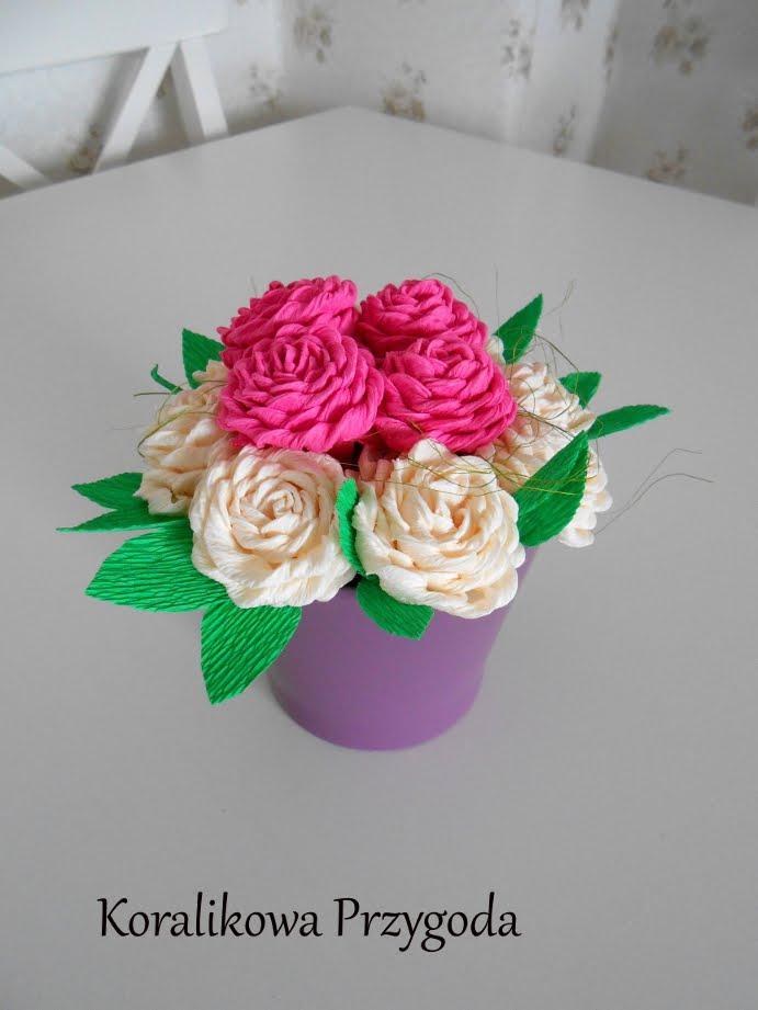 krepowe róże