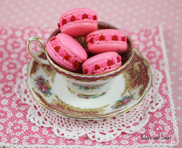 ... me Love me not heart sprinkle valentine macarons with raspberry gelee