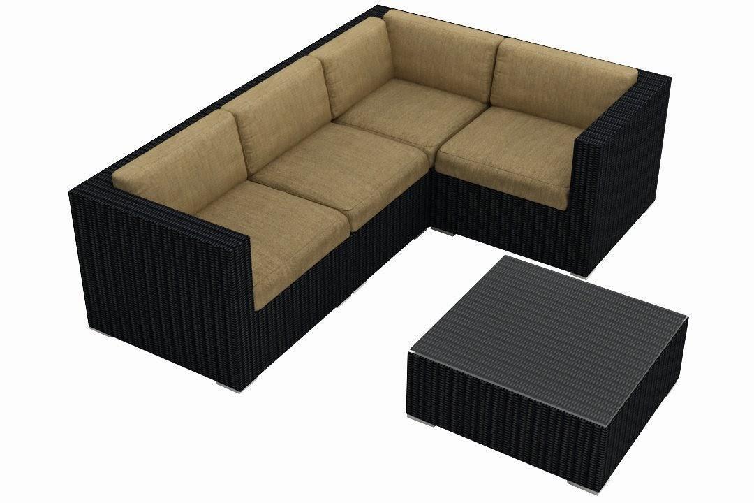 Urbana 5 Piece Modern Outdoor Sofa Sectional Set with Tan Sunbrella ...