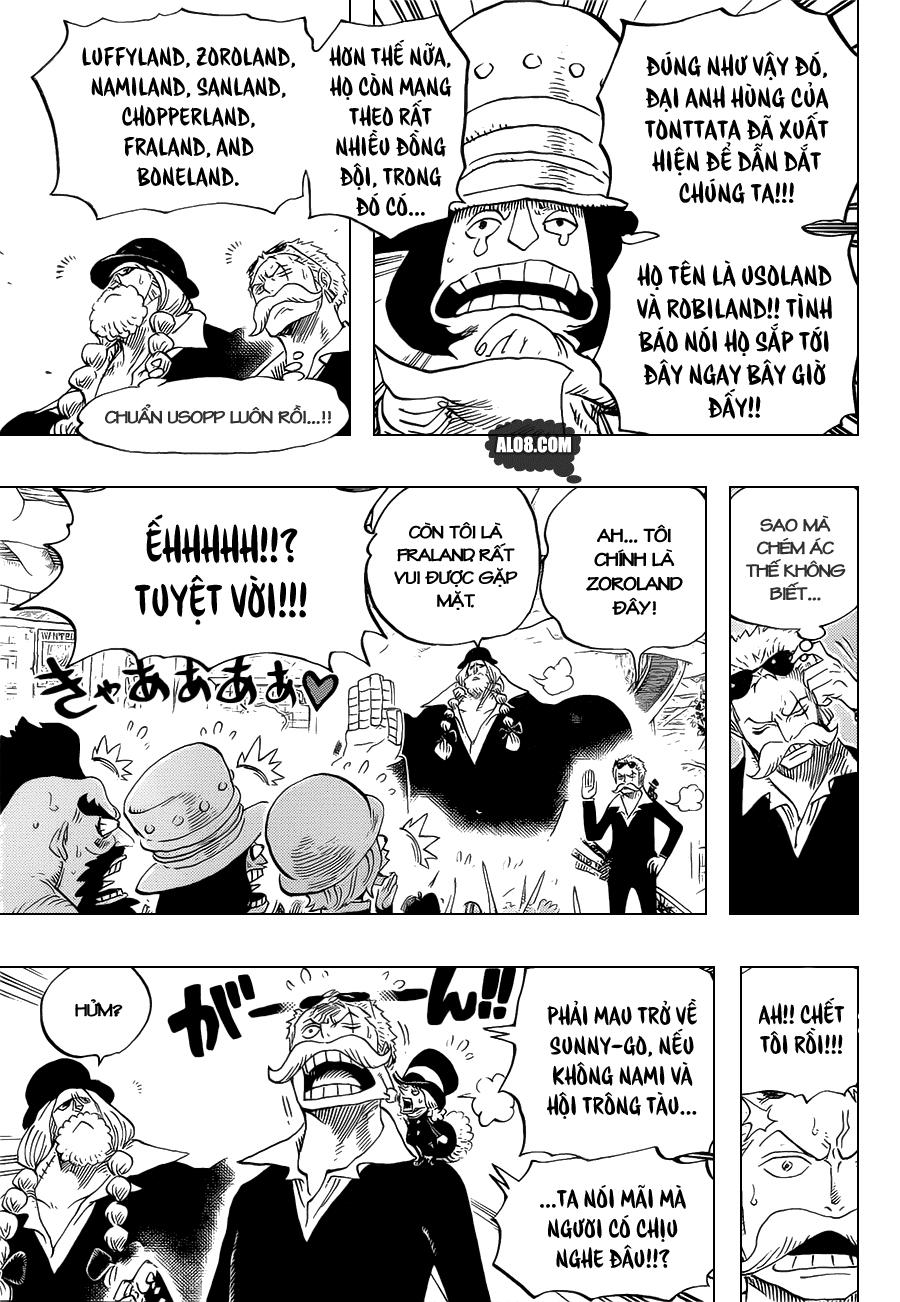 One Piece Chapter 718: Những chiến binh hoàng gia Riku ở cánh đồng hoa 009