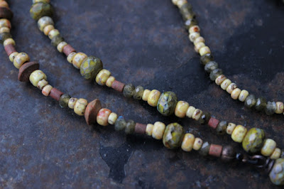 Labradorite, jasper and glass