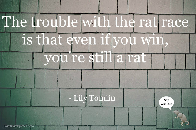 the trouble with the rat race is that even if you win, you're still a rat