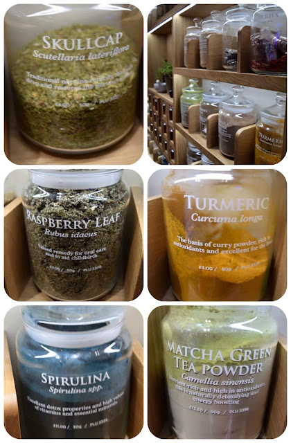 jars of herbs and remedies at Neal's Yard, King Street, Manchester