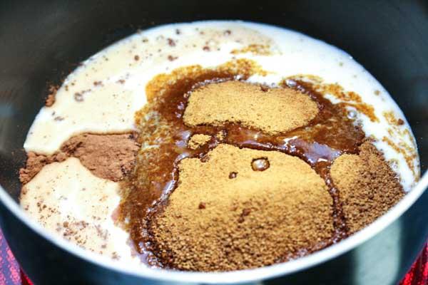 In a large sauce pan, add coconut sugar, coconut oil, cocoa powder ...