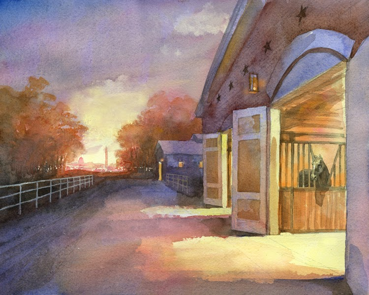Illustration by Robert Crawford showing horse stable of U.S. Army Old Guard's Caisson Platoon