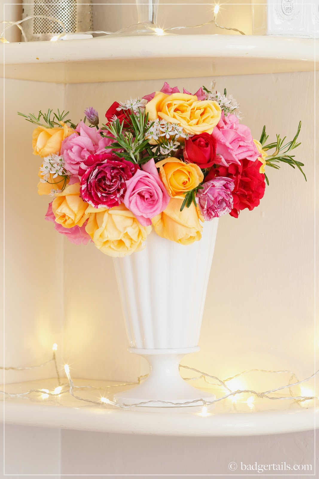 Badgertails ~ Homemaker: Pink and Orange Roses in White Urn