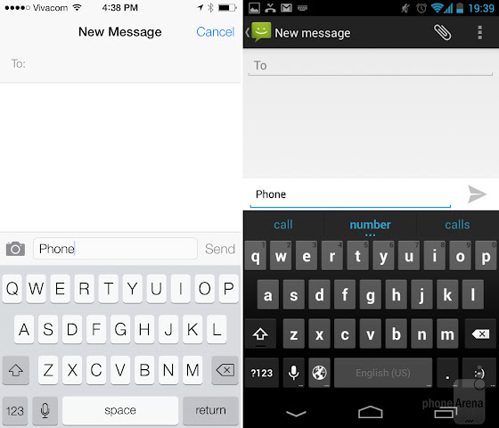 Apple iOS 7 vs Android 5.0: Messaging and Keyboard