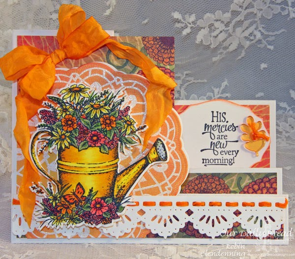Our Daily Bread Designs, Watering Can, Sentiment Collection 3, Doily Blessings, Watering Can die, Beautiful Borders, Doily, Elegant Ovals, Blooming Gardens, Side Step Card