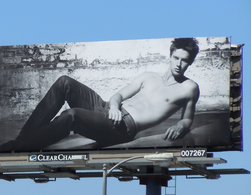 Shirtless Patrick Schwarzenegger Hudson Jeans billboard
