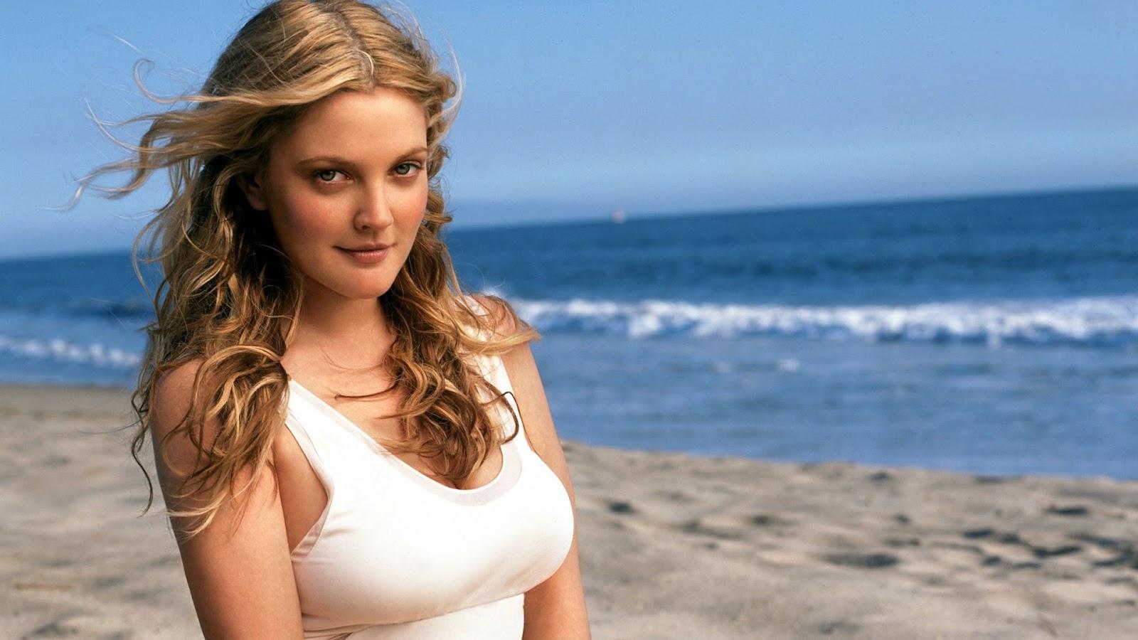 Drew Barrymore at Beach