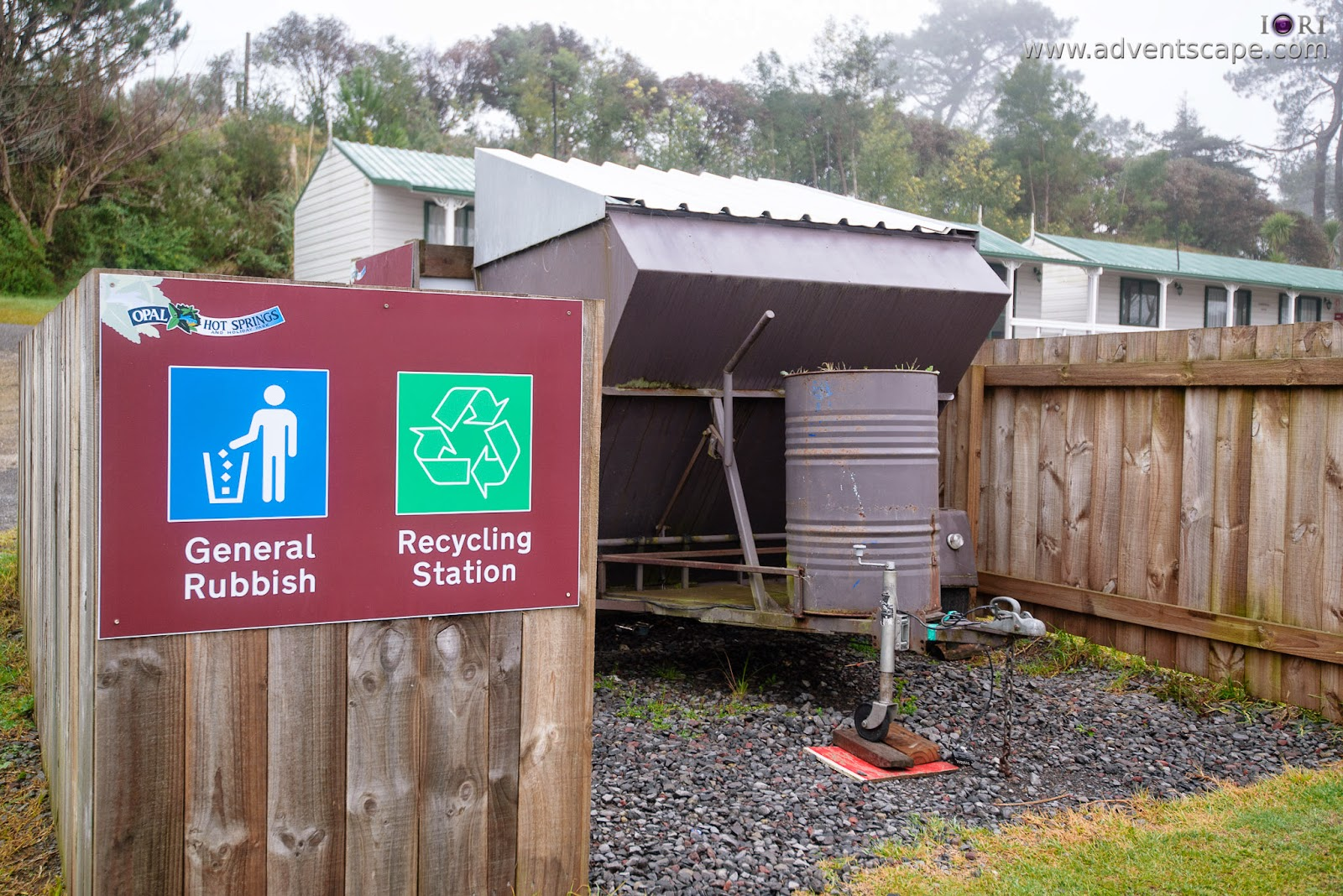 Philip Avellana, iori, adventscape, north island, new zealand, matamata, waikato, holiday park, accommodation, hot springs, trash can, garbage