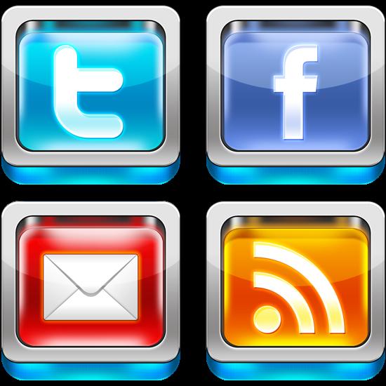 Shiny 3D Social Media PSD Icons