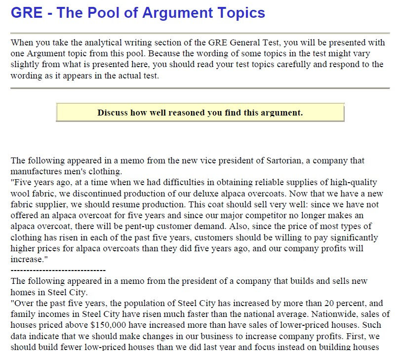 GRE Argument Prompt (Topic) and Sample Essay