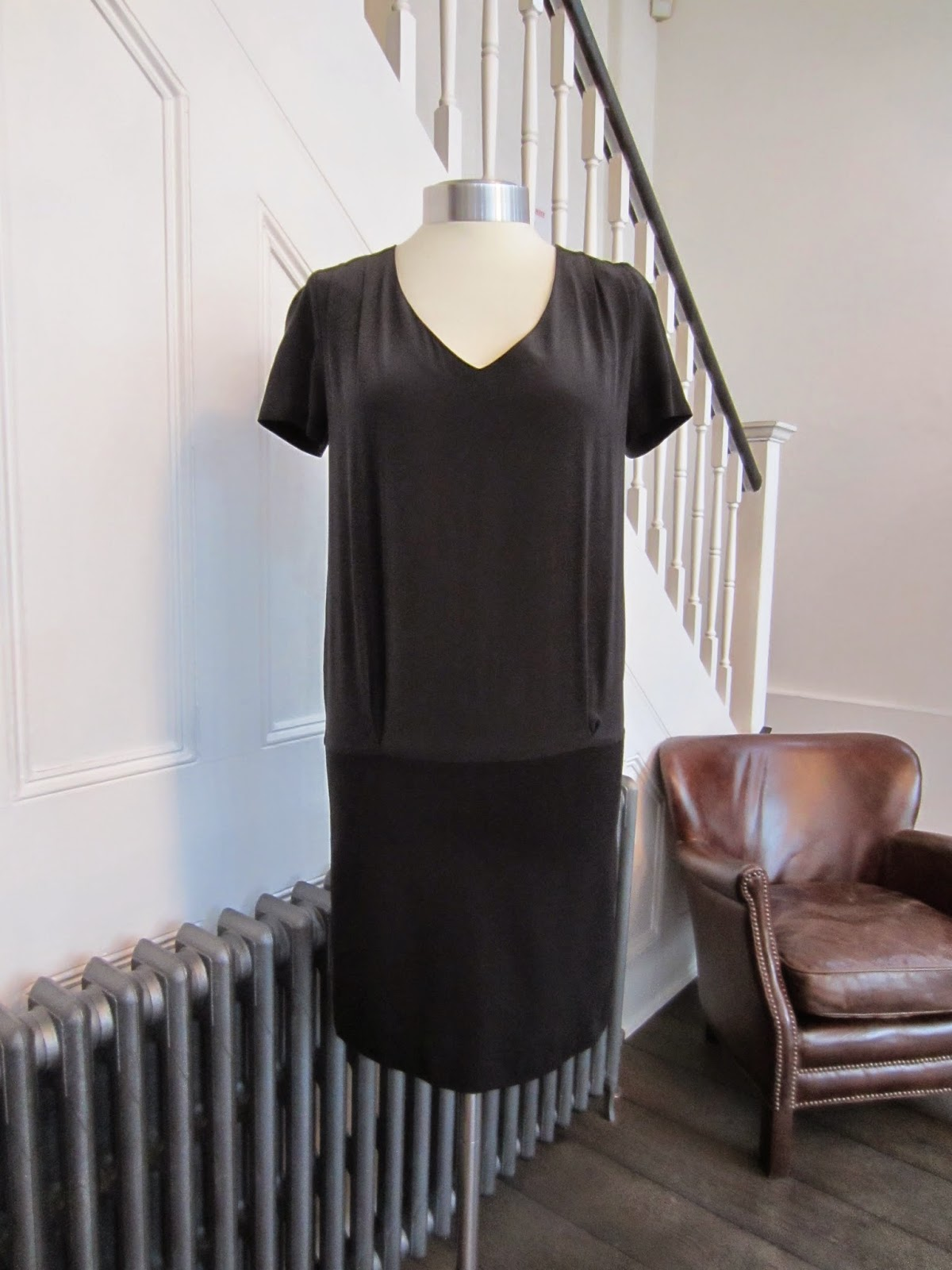 Sandro Black Silk & Jersey Dress