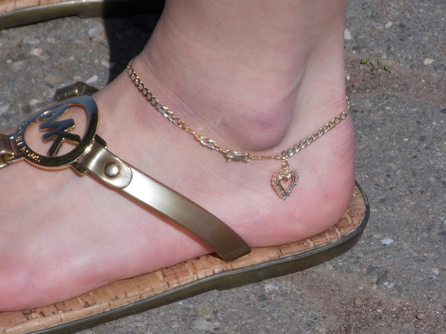 gold diamond heart anklet