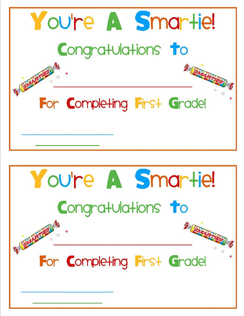 Smarties Certificates | Mrs. Gilchrist's Class Smarties Graduation