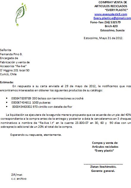 Bianca Riveros: Correspondencia de Compra/Venta