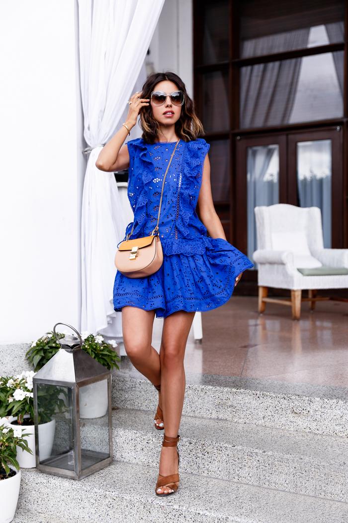 Zimmermann Hyper Eyelet Dress in Blue