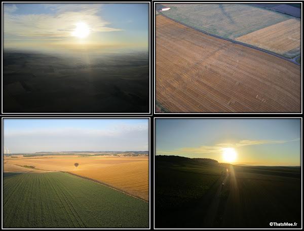 Baptême de montgolfière la vue coucher de soleil champs