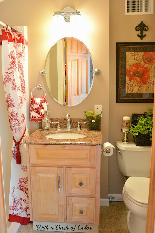 The red and white shower curtain reminds me of red toile fabric and  title=
