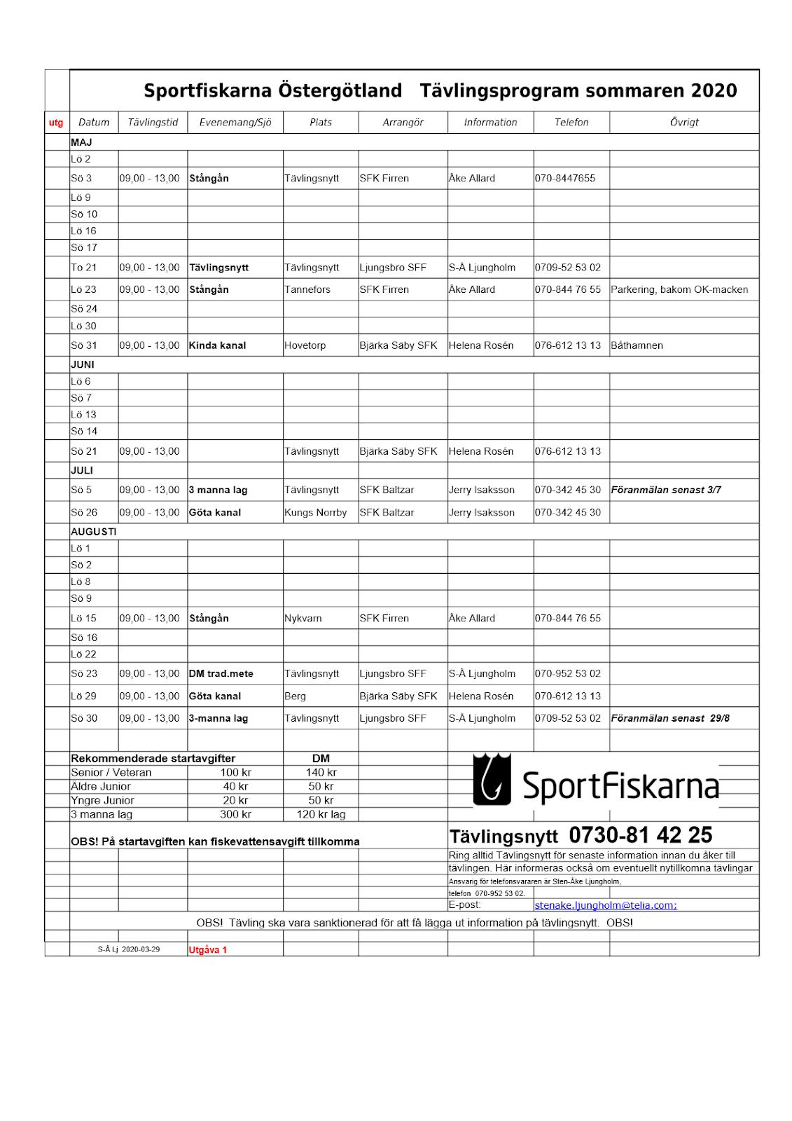 Tävlingsprogram Sommar