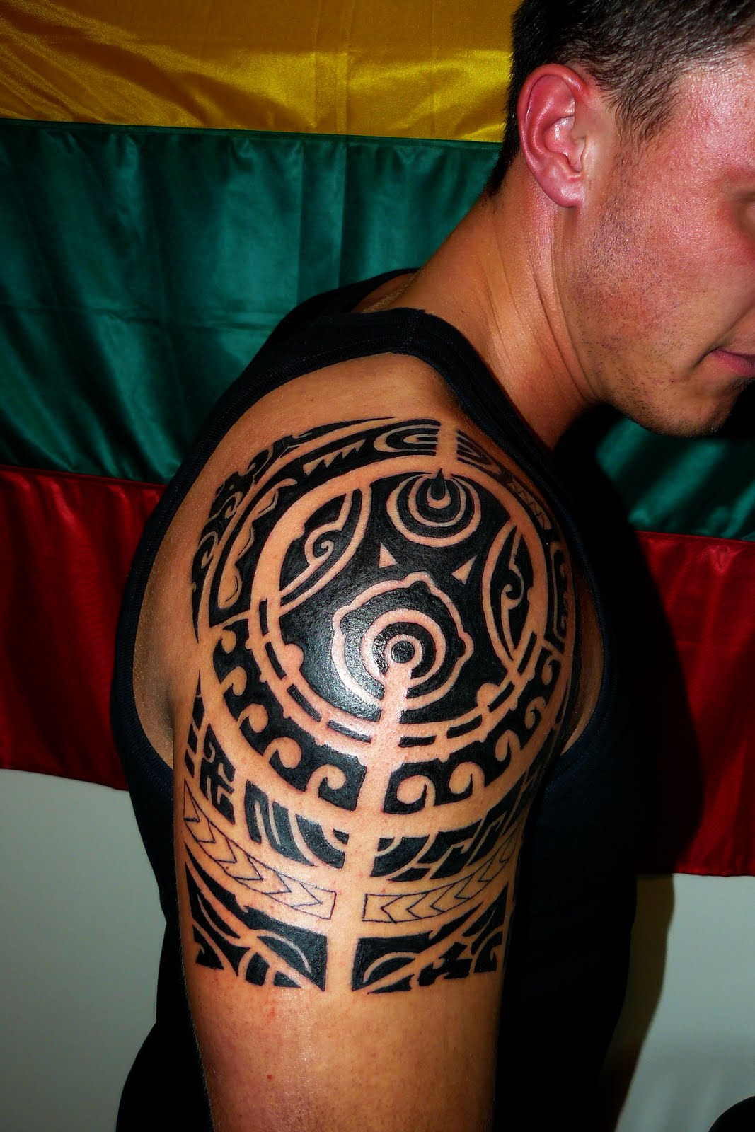 Tribal-Tattoos Polynesian_Style_Tribal_tattoo_by_devilsarm