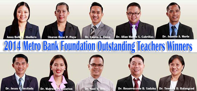 Congratulations to 2014 Metro Bank Foundation Outstanding Teachers Winners