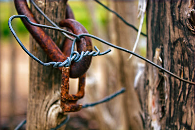some rusty metal by the blacksmith shop behind Cove Fort between Beaver and Fillmore, UT