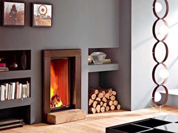 La calidez del fuego madera chocolate - Revestimiento de chimeneas modernas ...