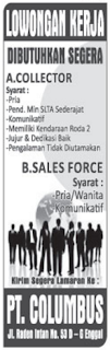 JOB in Lampung PT. Columbus