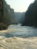 The Zambezi continuing on it's merry way after Victoria Falls