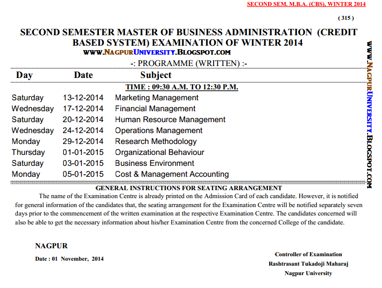 Mba semester 2 exam time table winter 2014 rtmnu for Rtmnu time table 4th sem