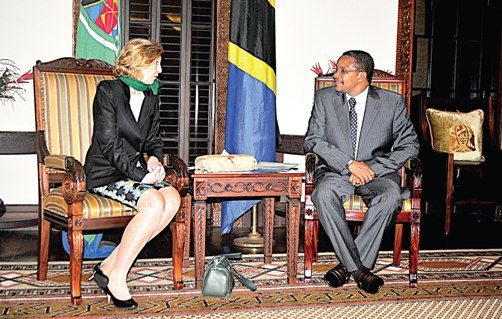 PRESIDENT Jakaya Kikwete and the French Minister for Foreign Trade, Ms Nicole Bricq, share views at the State House in Dar es Salaam