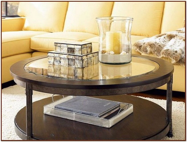 Ideal round coffee table with storage stools