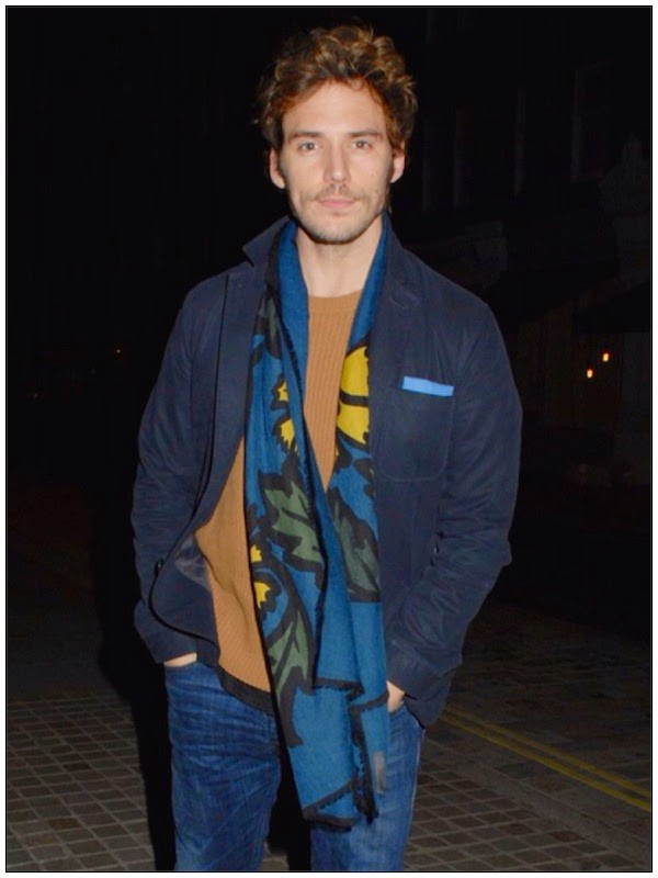 Sam Claflin wears Burberry Prorsum Fall Winter 2014 blue yellow floral scarf at Chiltern Firehouse London October 2014