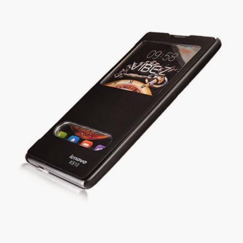 Dual View Window Flip Cover Folio Case For Lenovo K910 Black (V1V9Y