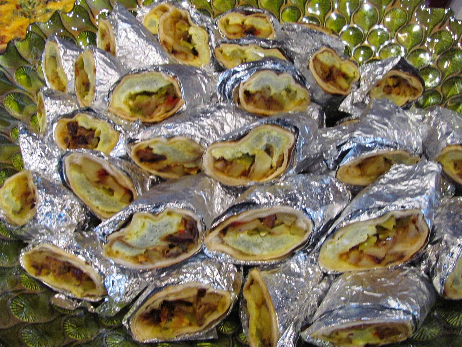 Mini Breakfast Burrito Platter: organic eggs, tillamook cheddar, green chile, and southwest potatoes