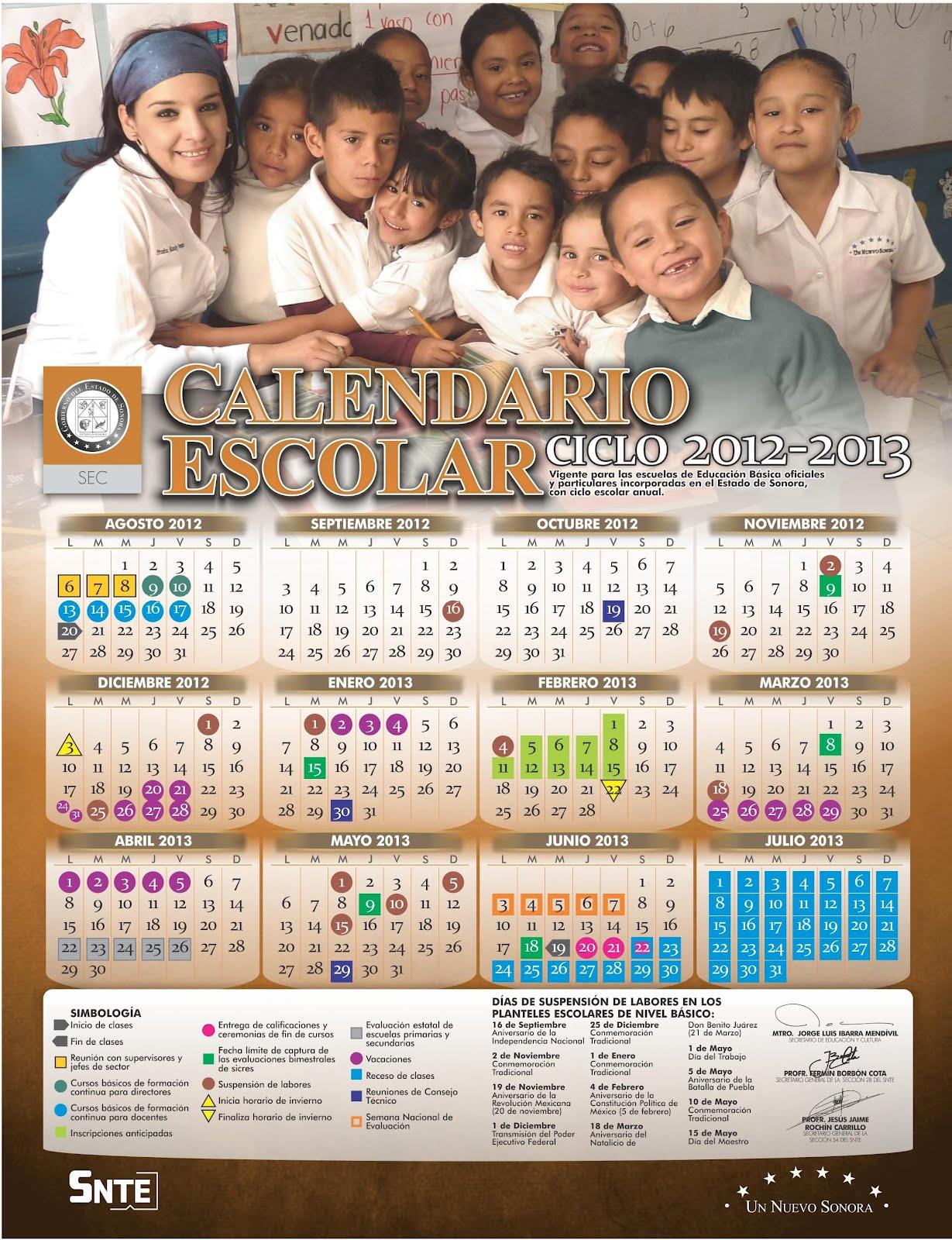 Calendario Escolar 2012 2013 De Sonora